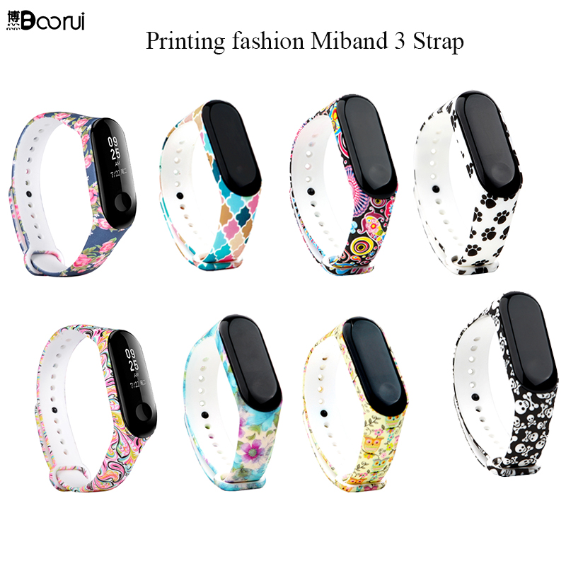 BOORUI Newest Hot Sale Miband 3 Strap Colorful Varied Style Printing Silicone Wrist Strap Replacement For Xiaomi Mi 3 Smart Band