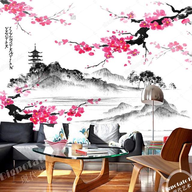 Japanischen landschaft tapeten, Landschaft mit sakura äste, retro ...