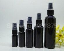 50 stücke 10ml 20ml 30ml 50ml 100 ml schwarz kunststoff Spray Flaschen Schwarz sprayer Parfüm Kosmetik container Dunkle Farbe