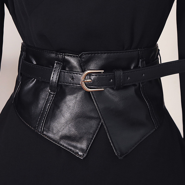 7983781e42 Fashion Women Peplum Wide PU Elastic Belts Slim Corset Black Faux Leather  Dress Waist Belt Cummerbund Girdle Pin Buckle Belts