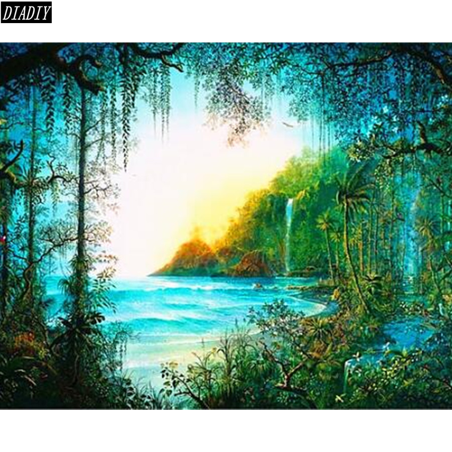 Diy 5D Diamond Painting Secret Forest Landscape Full Mosaic Rhinestone Paintings Cross Stitch Ribbon Embroidery Home Deor
