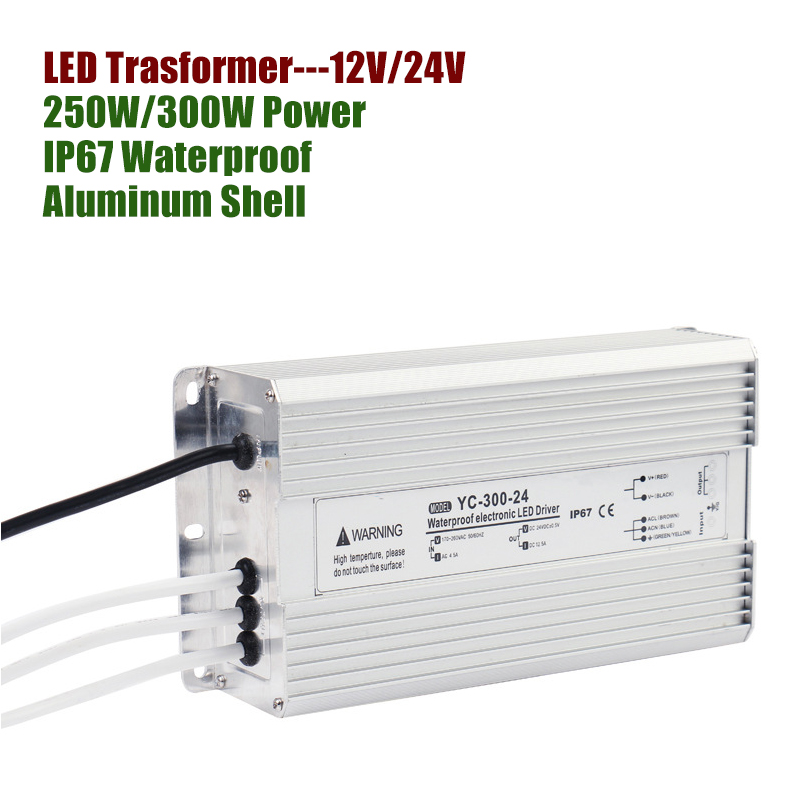 12V 24V DC Power Supply 250W 300W LED Driver Transformer 220V 12V 24V Aluminum IP67 Waterproof