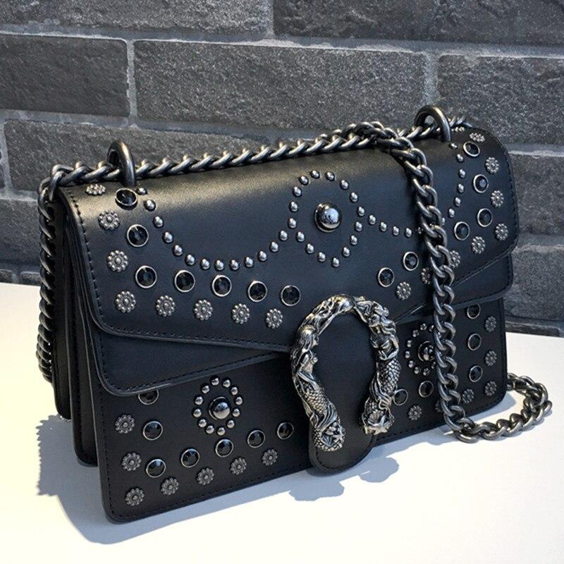 c687ab9892 Luxury Brand Women Chain Messenger Shoulder Bags Diamond Rivet Leather  Handbag Clutch Purse Famous Designer Locks Crossbody Bags-in Shoulder Bags  from ...