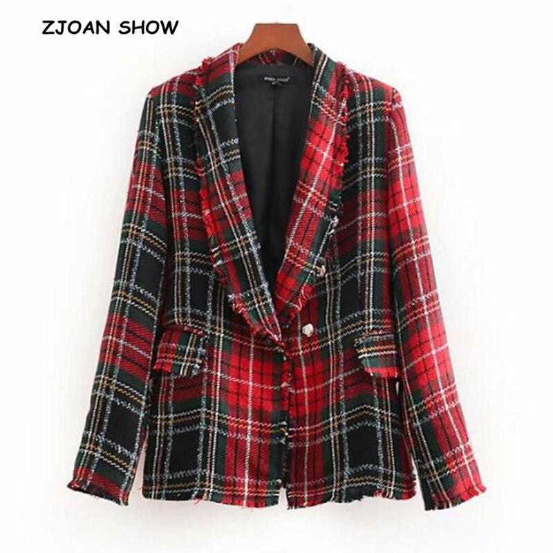 Retro Gingham Check Plaid Tassel Blazer New Women Fringed Basic Coat Soft Woolen 2018 Vintage Pockets Slim Coat Outerwear Tops