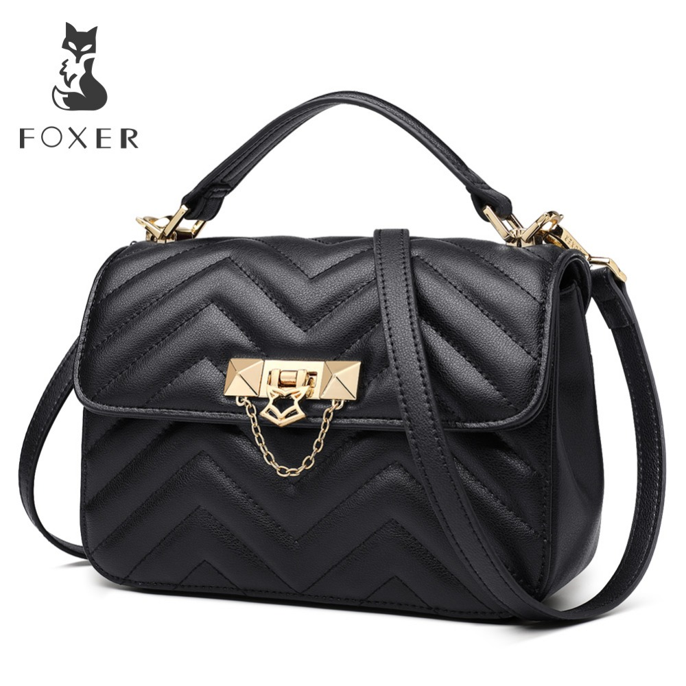 FOXER Brand Elegant Qualities Lady Solid Shoulder Bags Female Fashion Diamond Lattice Split Leather Messenger Bags for Women