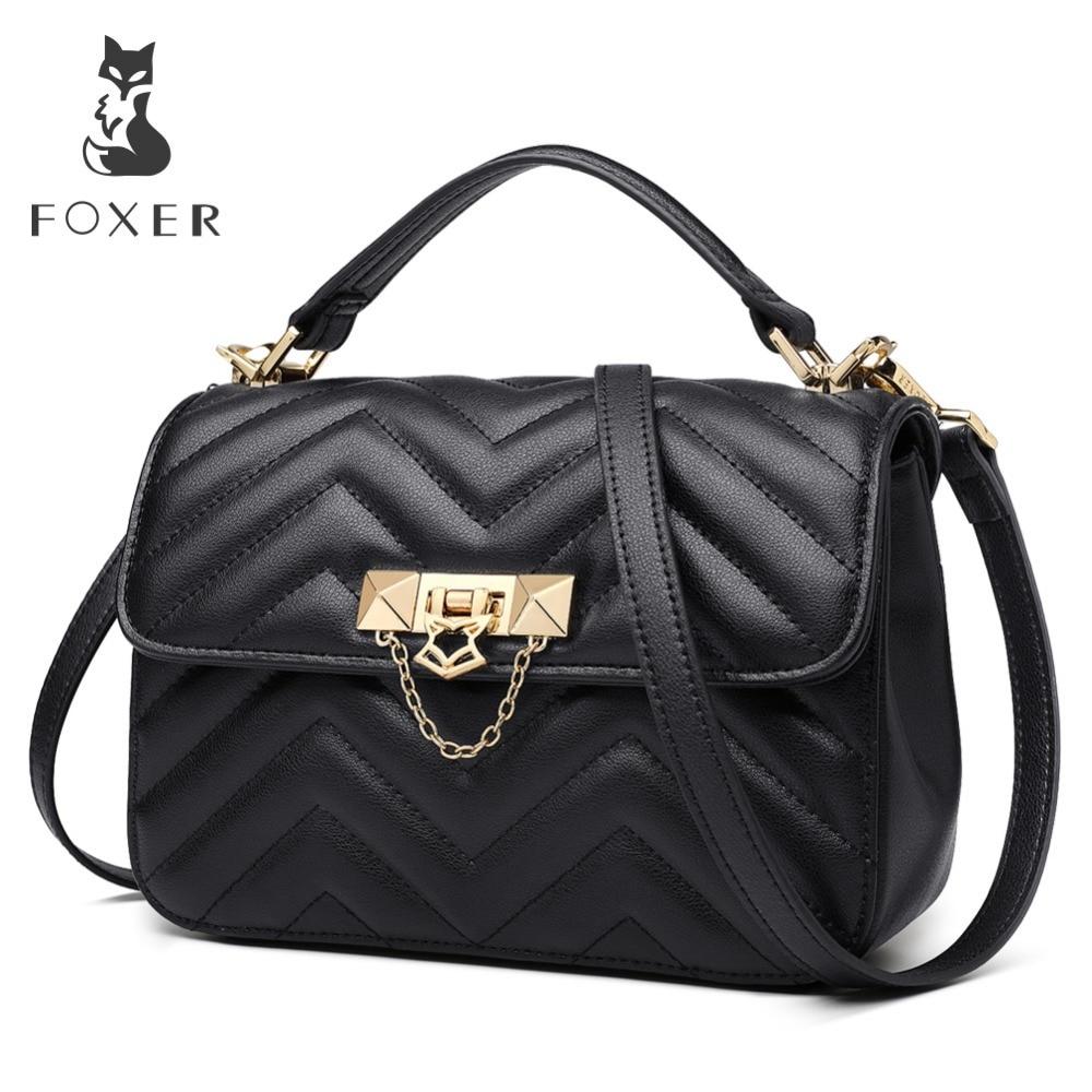 FOXER Brand Elegant Qualities Lady Solid Shoulder Bags Female Fashion Diamond Lattice Split Leather Messenger Bags for Women