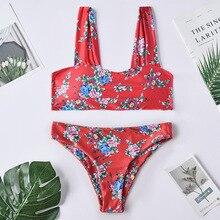 Roseheart Summer Red Sexy Bikini Sets Women Swimsuit Strapless Swimwear Low Waist Bathing Suit Female Flower Printed