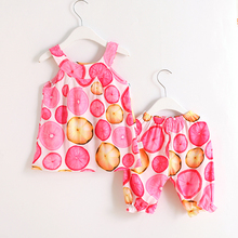 Childrens suit Girls summer rayon sling pants 2 piece baby trousers clothes