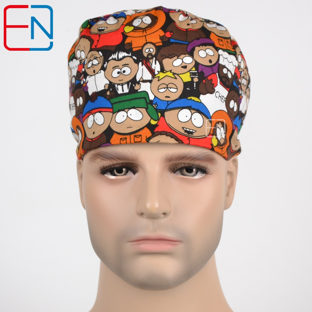 New Cotton Scrub Caps Mask Men Hospital Medical Hats Cartoon Print Tieback Adjustable Cotton Men's Section Surgical Caps Masks