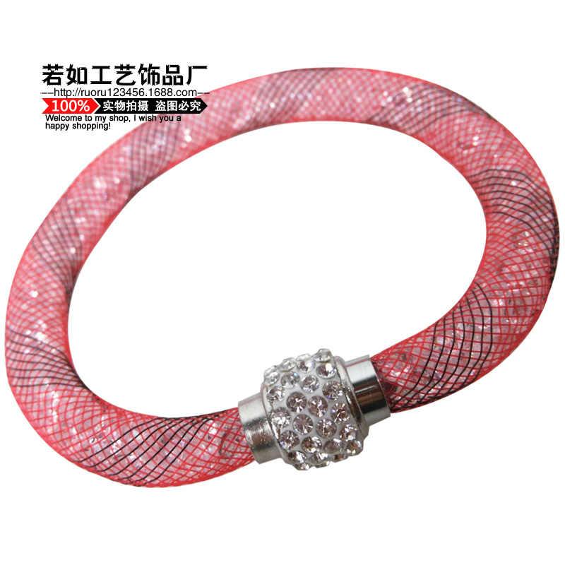 Nowy gorący sprzedaje pojedyncze warstwy siatki plecionej wypełnione żywicą rhinestone bransoletka pani miłość magnetyczne bransoleta
