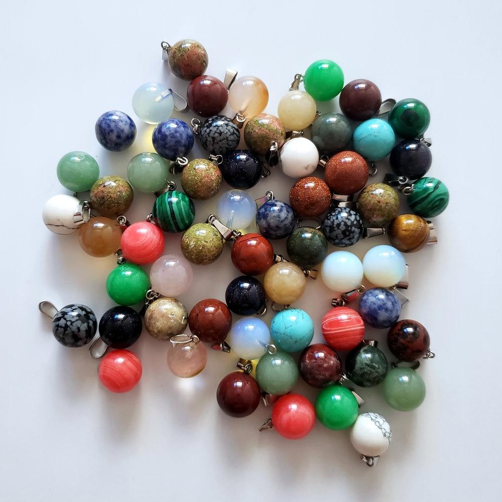 Commercio all'ingrosso di 50 pz/lotto modo reiki la migliore vendita assortiti pietre naturali della sfera rotonda di fascini di figura pendenti misura la collana che fa spedizione