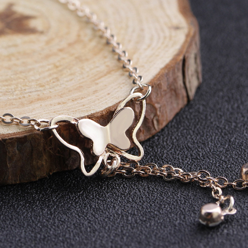 QCOOLJLY Butterfly Pendant Anklets Foot Chain Summer Yoga Beach Leg Bracelet Handmade Anklet Rose Gold Silver Color Jewelry 11