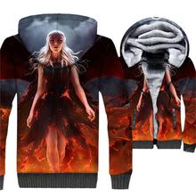 thick rib sleeve jacket coats 3D Printed men Game of Thrones brand clothes 2018 winter streetwear hip-hop wool polyester jackets