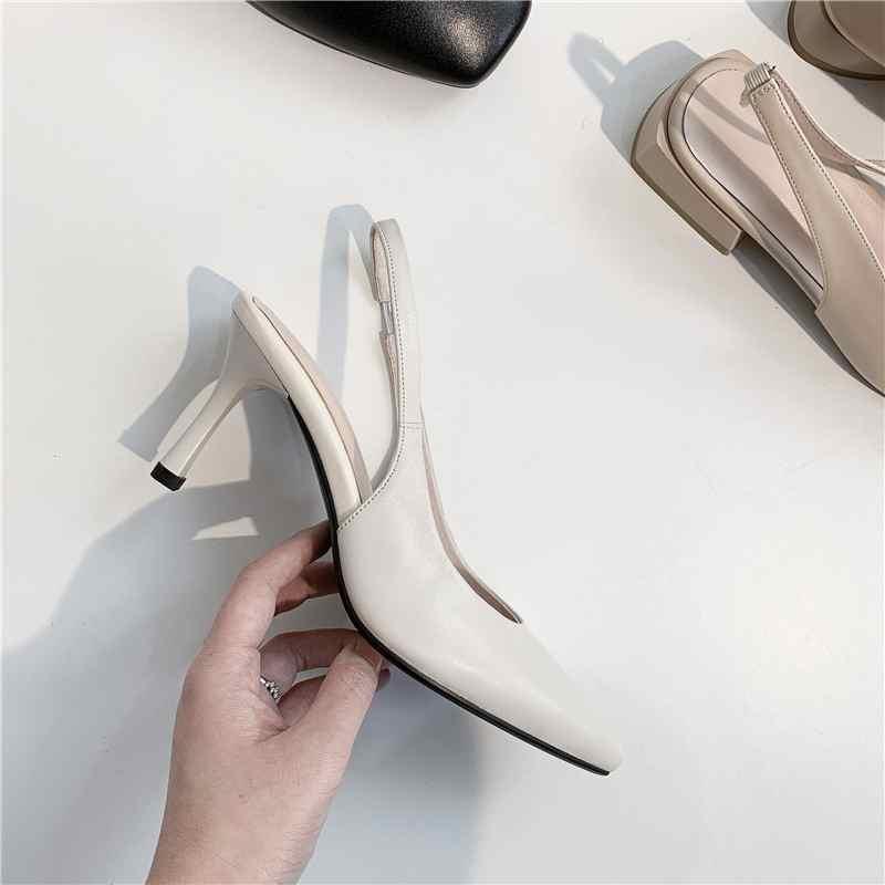 Krazing Topf full grain leder stiletto high heels spitz Britische elastische band slingback nach dating bequem pumpen L73-in Damenpumps aus Schuhe bei  Gruppe 3