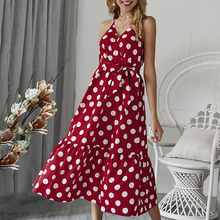 купить Long Summer Dress 2019 New Vintage Sexy Bohemian Floral Tunic Beach Dress Polka Dot Sling Dress Beach Holiday Wind dress дешево