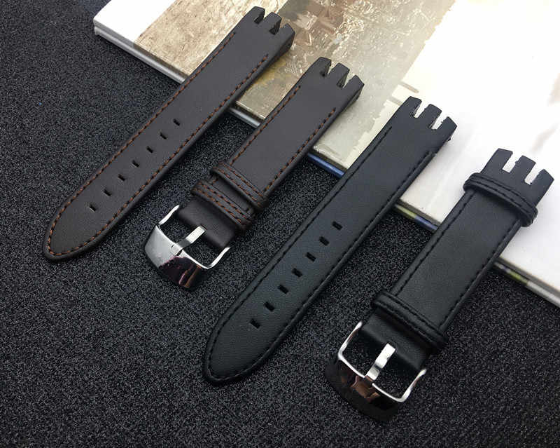 Quality Black Brown real Leather Watch band Bracelets for Swatch strap YTS401 400 404G 407 405 406 YTB400Y Watcheband Logo on