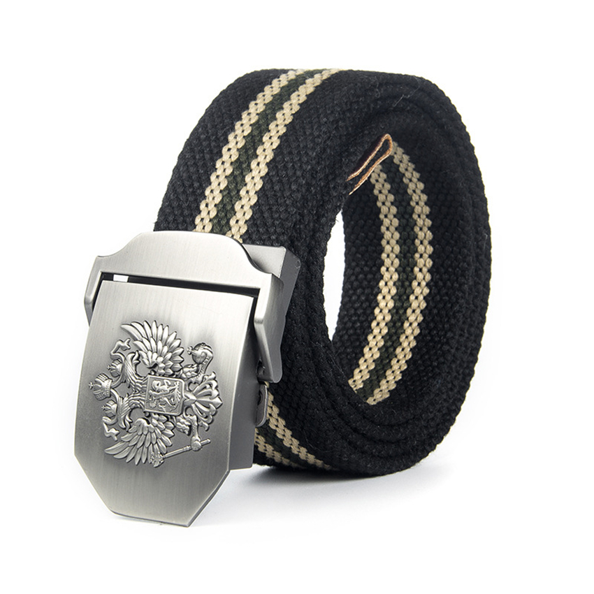 Canvas Belt Trousers National Russian Nylon Military Long Emblem-Buckle Black Unisex