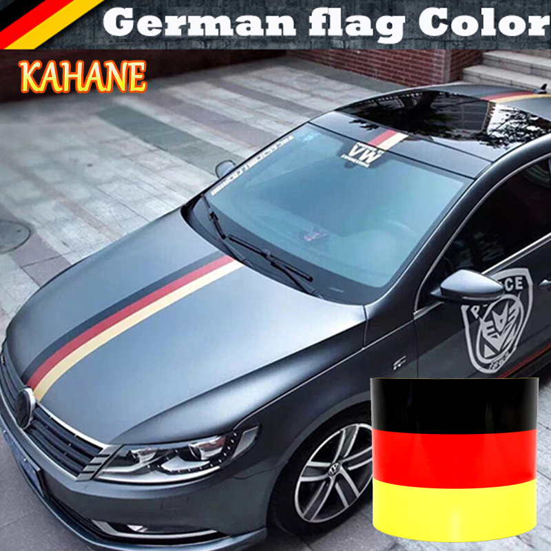 KAHANE 2M 3M 4M 5M 6 Germany Flag Stripe Car Hood Vinyl Sticker Body Decal For BMW E46 E90 E39 VW Golf Passat Ford Focus Fiesta