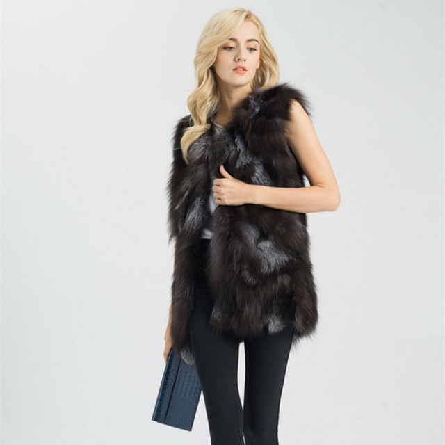 Jancoco Макс S1467 Настоящее Фокс Меховой Жилет Женщины Зима Мода Длинные Пальто Дамы Жилет