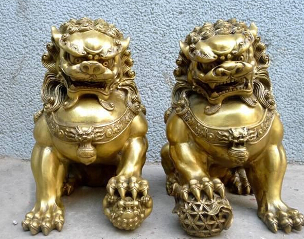 A Pair Chinese Feng Shui China Royal Palace Pure Brass Door talisman Fu Foo Dog Evil Guardian Lion 2pcs Garden Decoration BRASS