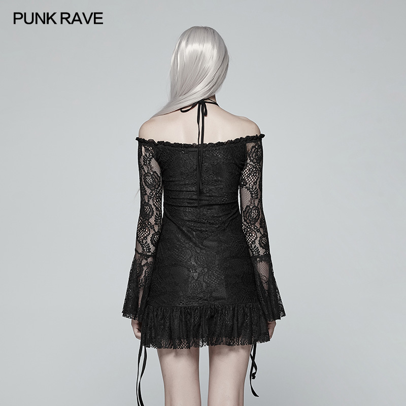 Punk Rave Women T shirt Gothic Sexy Lady Lace Boat Neck Off shoulder Fashion Long Sleeve Tops for Women in T Shirts from Women 39 s Clothing