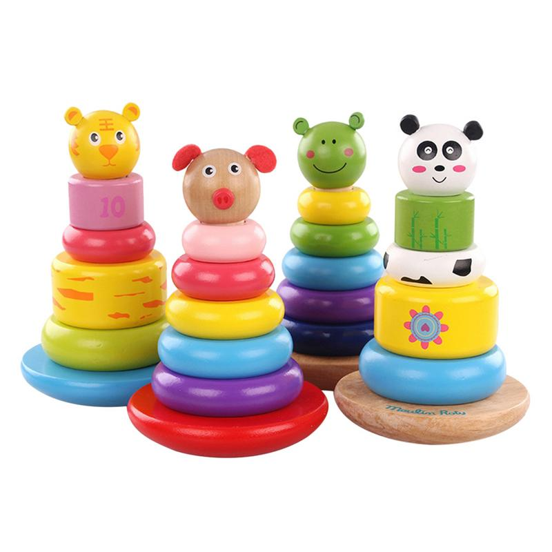 Educational Toys Colorful Animals Shape Shaking Tower Stacked Toys Wooden Learning Education Montessori Toys