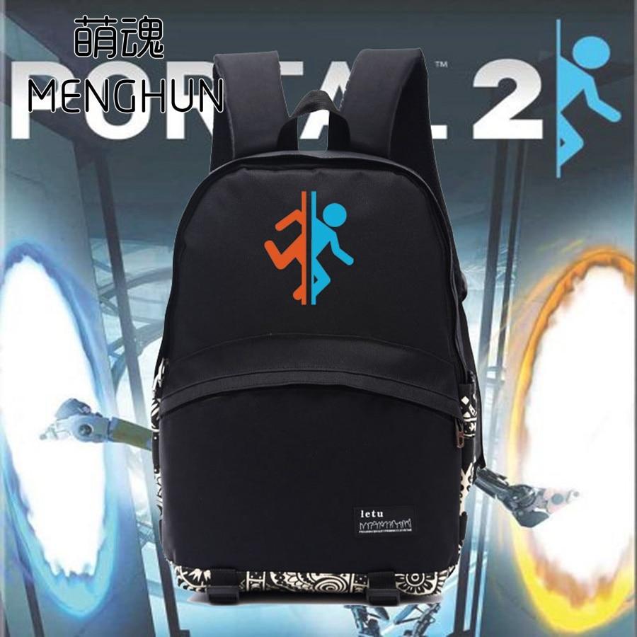 Pc Game Concept Backpack PORTAL 2 Backpacks Gift For Game Fans Game Concept Black Nylon Bags School Backpack NB161