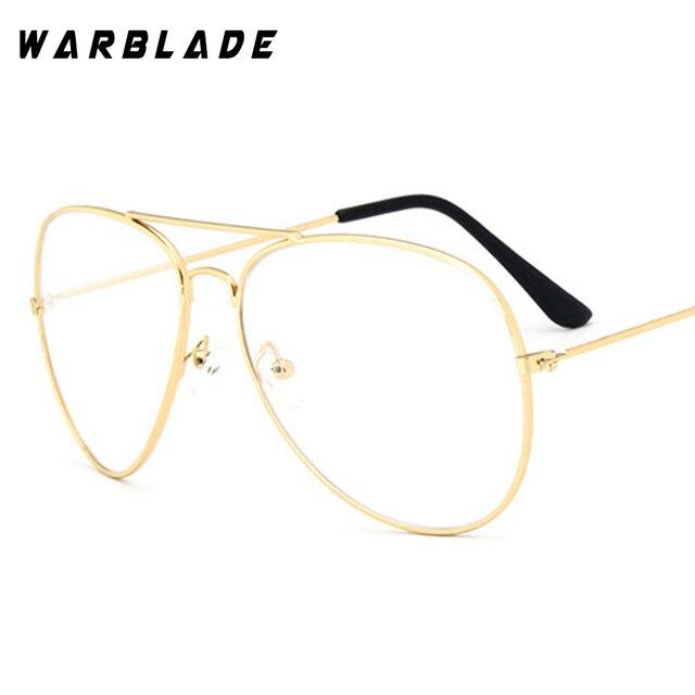WarBLade Band gözlük alaşım altın çerçeve gözlükleri klasik optik gözlük şeffaf şeffaf Lens kadın erkek sahte gözlük kadın