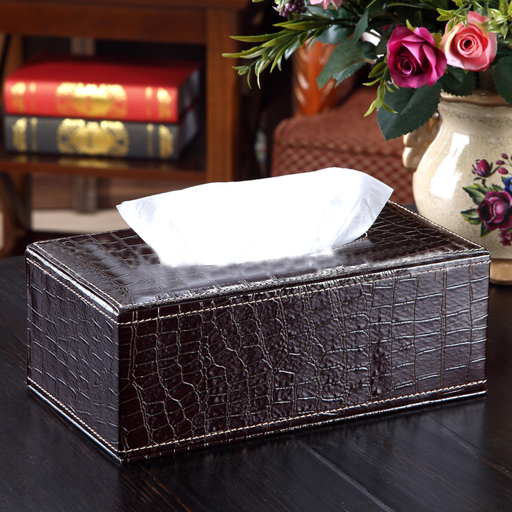 Tissue Boxes Table Decoration Accessories PU Leather Crocodile Style Tissue Box Cover Napkin Paper Holder Case
