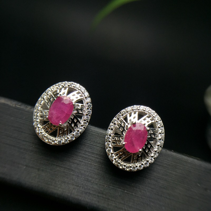 silver ruby stud earring for wedding natural marquise cut ruby earring rose gold color silver ruby jewelry gift for girl путь ruby
