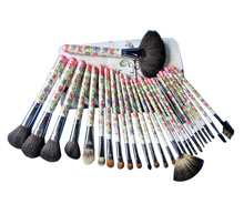 Free Shipping Special White With Flower Pattern Wood Handle 26 pcs Professional New Makeup Brushes Set  With Leather Case V0183A