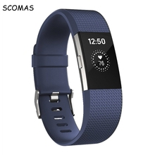 SCOMAS silicone smart bracelet strap for Fibit charge 2 replacement accessory