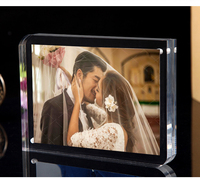 Free standing Double Sided Seethrough Acrylic Magnetic Photo Picture Frame Transparent Crystal frame with Fillet and right angle