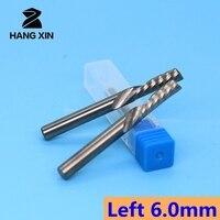 Left handed spiral CNC end mill 2PCS single slot spiral cutter MDF milling cutter carbide milling cutter PVC wood cutting machin