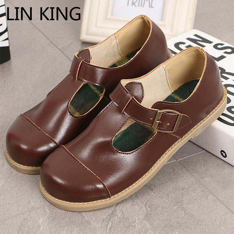LIN KING Mary Janes Cross-tied Women Flats Shoes Comfortable Solid Buckle Lady Lolita Shoes Student Style Big Size Girl Shoes summer women shoes casual cutouts lace canvas shoes hollow floral breathable platform flat shoe sapato feminino 30