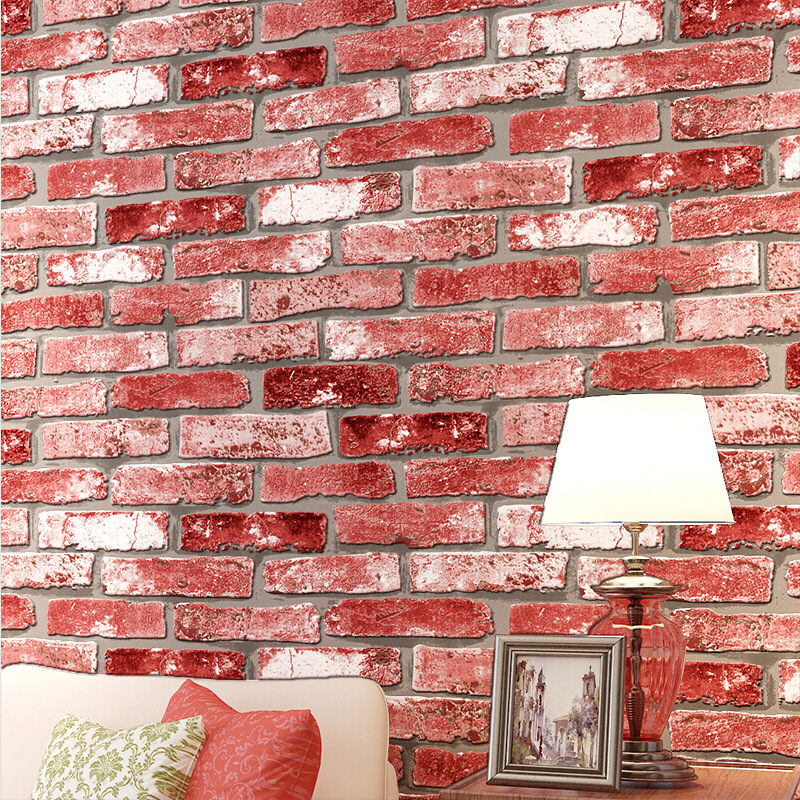 beibehang retro brick pattern wallpaper 3D stereoscopic wallpaper ...