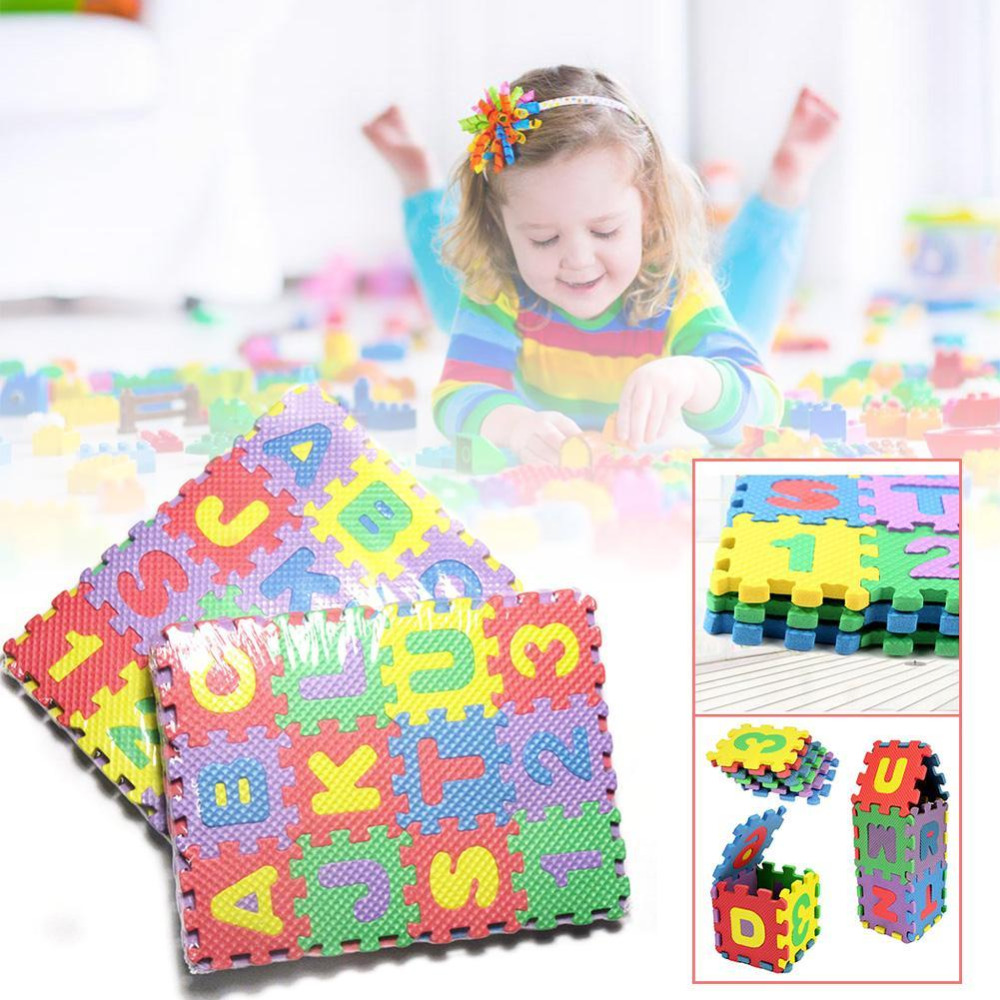 36Pcs Multicolor Foam Puzzles Squeeze Toy Educational 3D Alphabet A-Z Letters Numeral Soft Foam Mat Rompecabezas For Baby