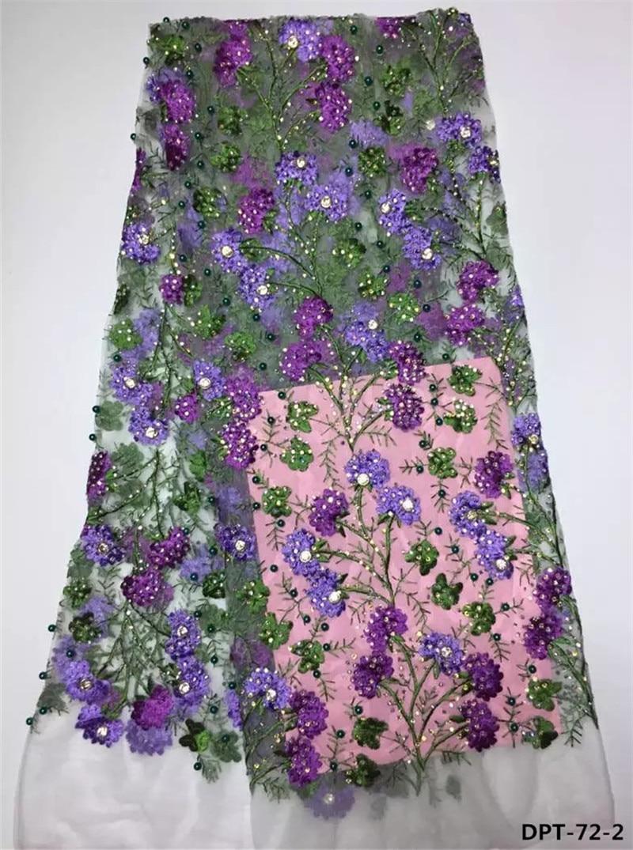 Hot 3d květina vysoce kvalitní africké francouzské tylové krajkové tkaniny s korálky a kameny pro oblékání vánoční večírek DPT-72