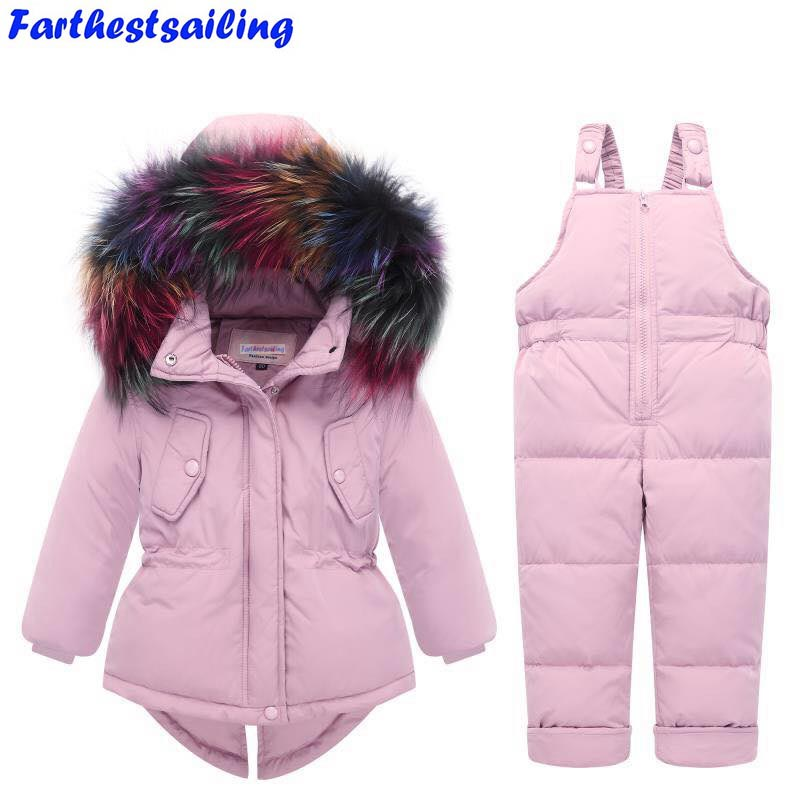 children Winter clothing sets  baby Snow Suit duck Down Clothes Set Girls boys Multicolor Fur Jacket+ Bib Pants kids Ski Suit 2016 winter boys ski suit set children s snowsuit for baby girl snow overalls ntural fur down jackets trousers clothing sets