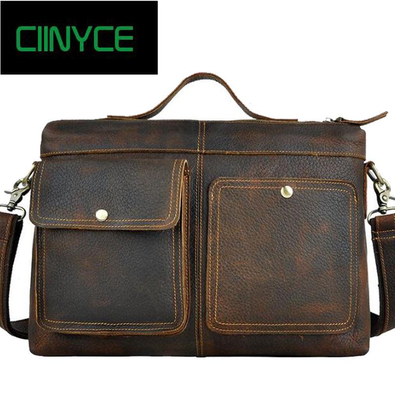 Cow Leather Vintage Handmade Crazy Horse Men Genuine Cowhide Retro Messenger Laptop Handbag tote Male Business Office Briefcase шорты джинсовые topshop topshop to029ewbjgh1