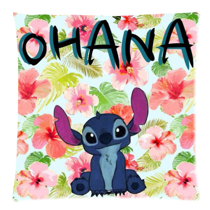 Hot Lilo Amp Stitch Ohana Quote Tow Side Printed Home Decor