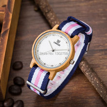Uwood Hot Sale Original Bamboo Wood Watch For Women Fashion Nylon Watch Band Wooden Lady Girl Wristwatches Best Gift