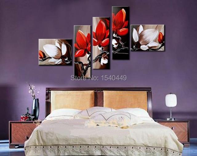 5 Stück Handgefertigte Wandkunst Moderne Abstrakte Blume Rot schwarz ...