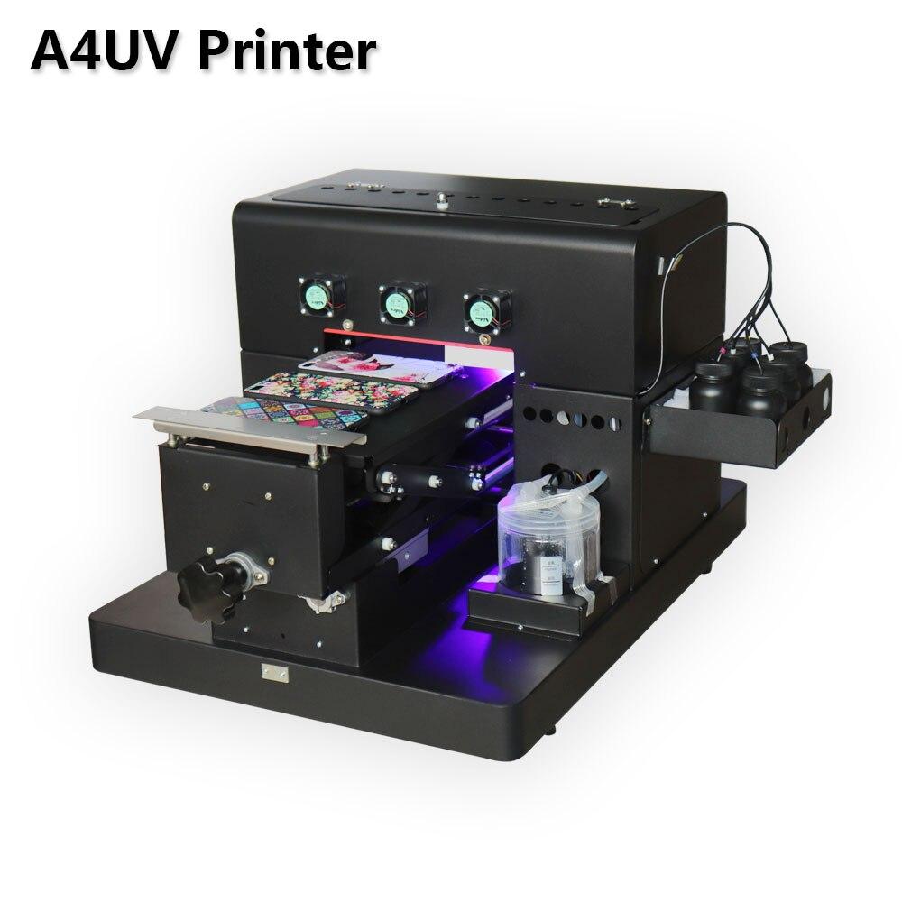 2018 A4 Petite taille Imprimante UV LED avec effet relief De Golf UV À Plat Imprimante pour Téléphone Cas, Acrylique, en cuir, TPU, Verre, ABS