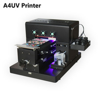 2018 A4 Small size UV Printer LED with emboss effect Golf UV Flatbed Printer for Phone Case, T shirt, leather, TPU, wood