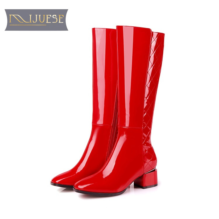 MLJUESE 2018 women knee high boots cow leather winter boots zippers short plush red color high