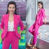 Женский костюм женские костюмы офисные комплекты двубортный блейзер + брюки комплект OL формальный комплект из двух предметов Terno Feminino Розов