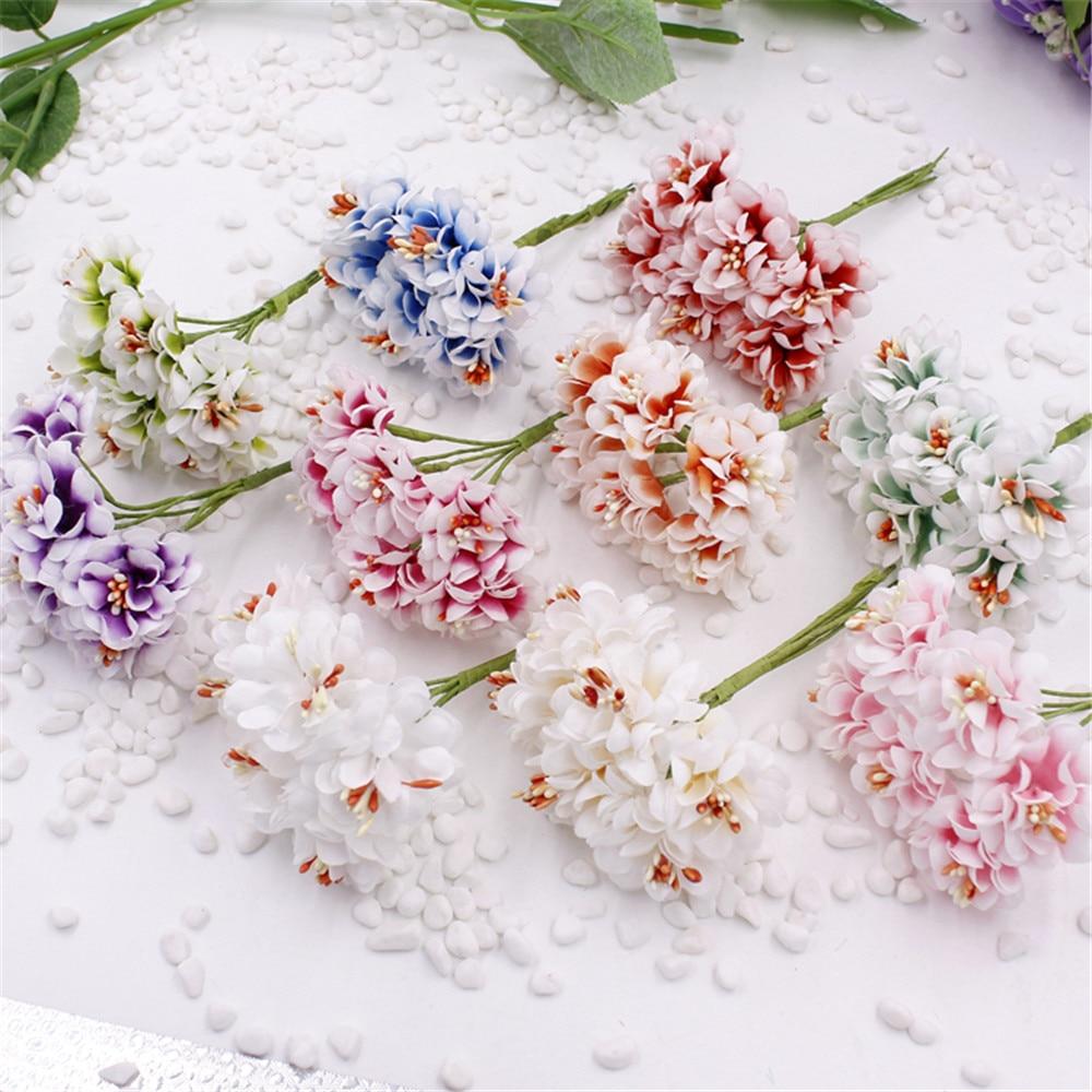 6pcs Silk Gradient Stamen Handmake Artificial Flower Bouquet Wedding Decoration DIY Wreath Gift Scrapbooking Craft Fake flowers