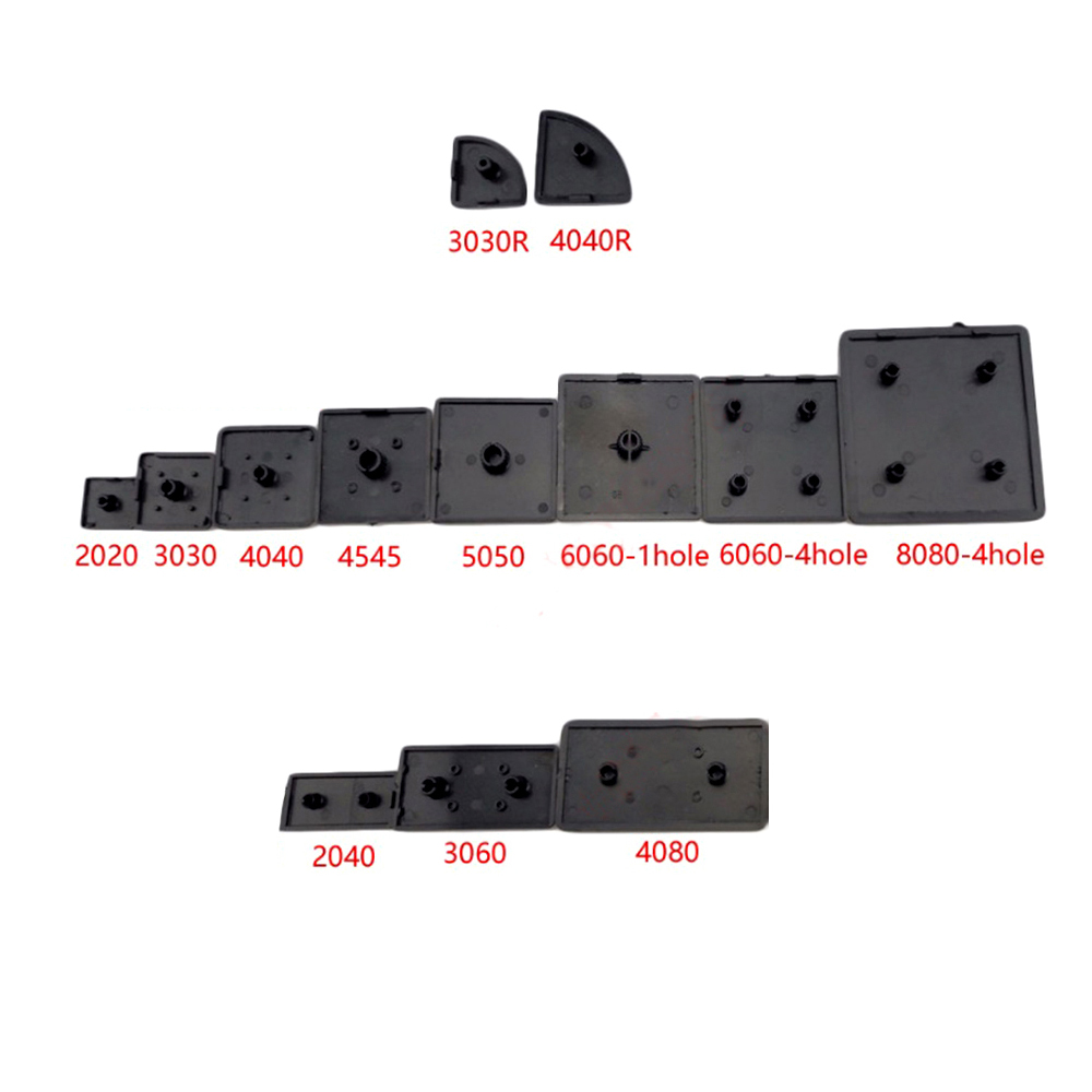 10PCS BLACK Nylon End Cap Cover Plate CNC 3D Printer Parts For EU Aluminum Profile 2020/2040/3030/3060/4040/4080/4545/5050/6060