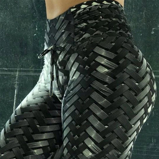 Black Weaving Printed Tie Fitness Leggings
